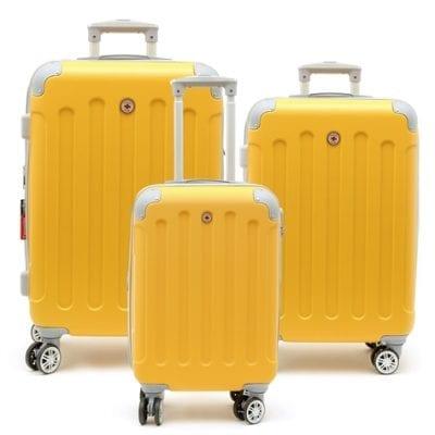 סט שלישיית מזוודות קשיחות Swiss Travel Club צהוב 2
