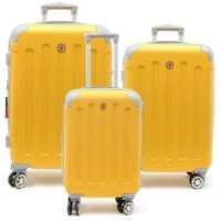 סט שלישיית מזוודות קשיחות Swiss Travel Club צהוב